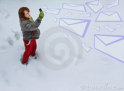 Girl sending emails