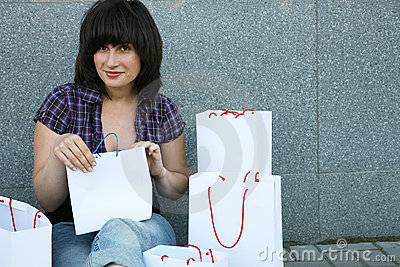 Girl with set of purchases