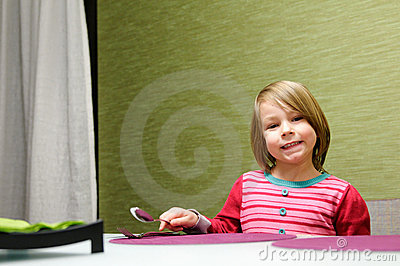 Girl Setting Table Royalty Free Stock Photos - Image: 19733288