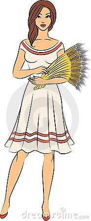 Girl with sheaf of wheat.