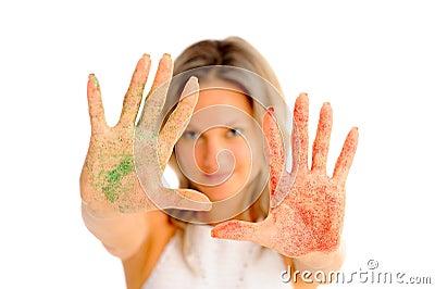 Girl with shiny eyeshadow on her hands