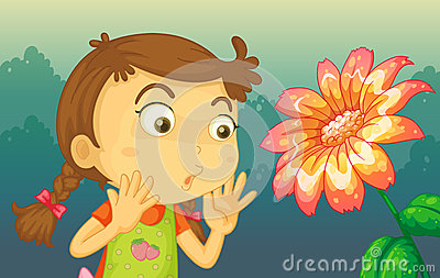 A girl shocked by a giant flower