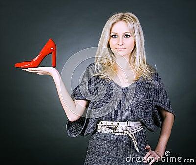 Girl and shoe.