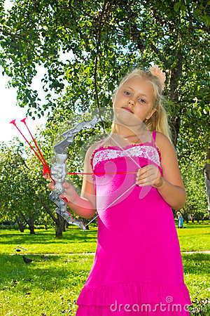 Girl shoots a bow