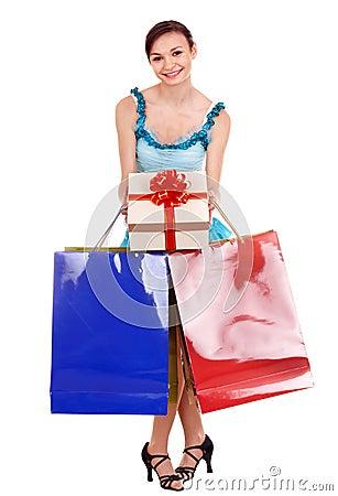 Girl with shopping bag. Ballroom dance.