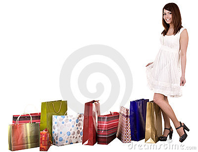 Girl with shopping bag wait for  taxi.