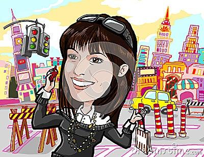 Girl shopping, on phone in manhattan new york city