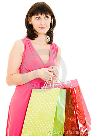 Girl with shopping in the red dress