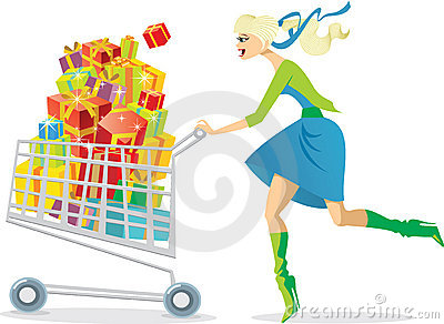 Girl on a shopping spree