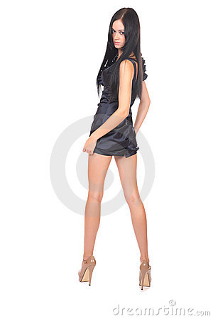 Girl in short dress full-length portrayal