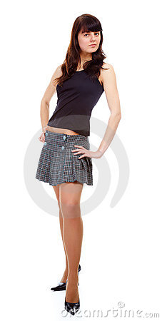 Girl in short skirt