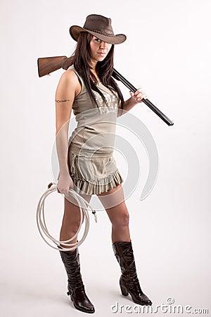Girl With Shotgun Royalty Free Stock Images Image 5239079