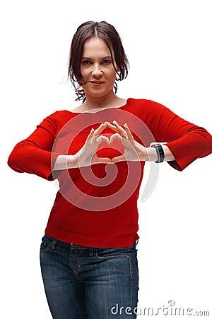 A Girl Shoving Heart Symbol