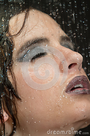 Girl in the shower with water drops set