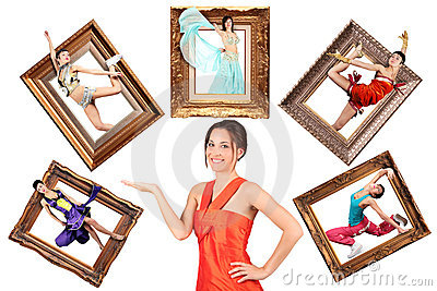 Girl showes multi task many women in picture frame
