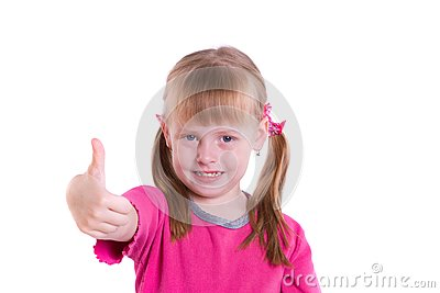 Girl showing the all OK sign