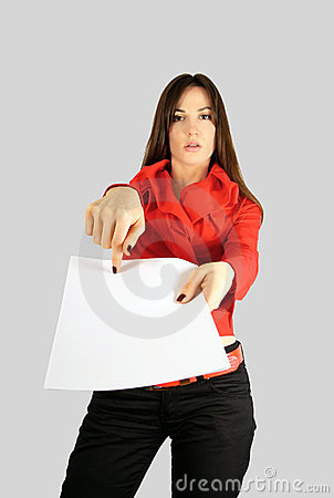 Girl showing blank paper