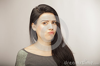 Girl showing emotion with facial features