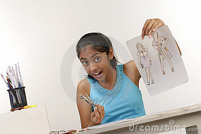 Girl showing fashion sketches