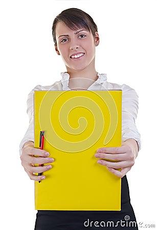 Girl showing a folder