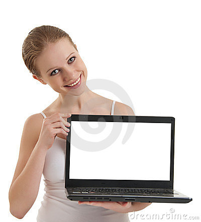 Girl showing  laptop with empty space screen