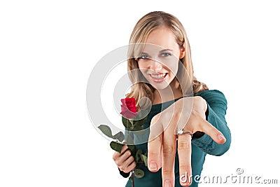 Girl showing off diamond ring