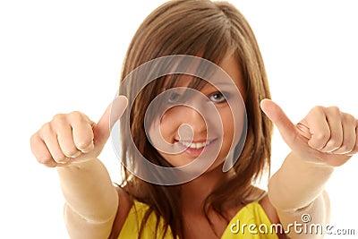 Girl showing OK