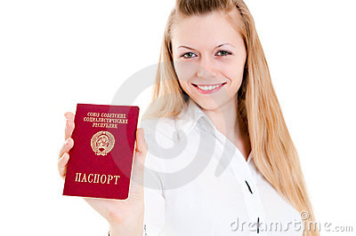 Girl showing passport of USSR