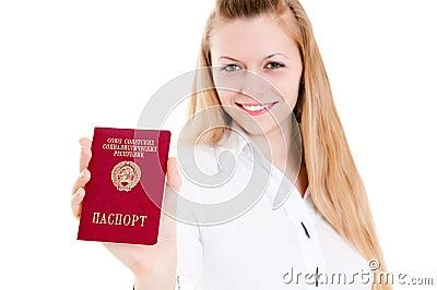 Girl showing passport of USSR