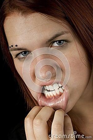 Girl showing teeth