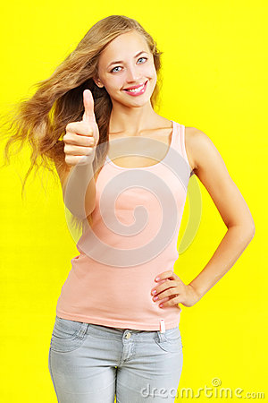 Girl showing a thumbs up