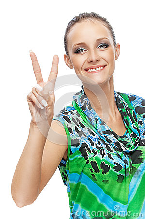 Girl showing two finger - victory