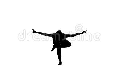 girl shows the pose balance on one leg silhouette stock