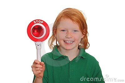 Girl shows stop sign