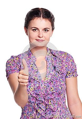 Girl shows thumb