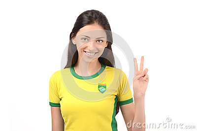 Girl signing victory for Brazil.