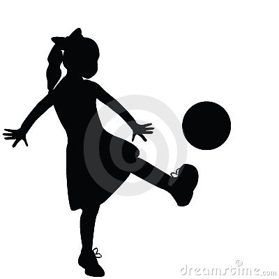 Girl silhouette playing