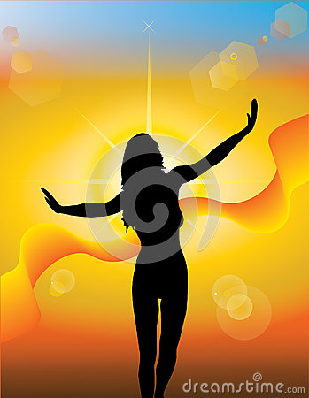 Girl silhouette on a sunny background