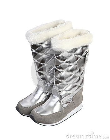 Girl silver winter boots