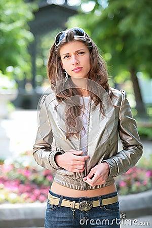 Girl in silvery jacket