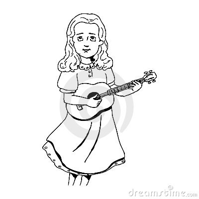 Girl singing at the guitar