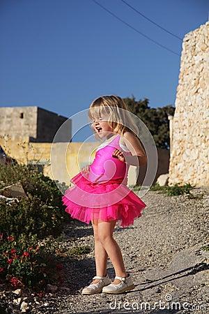 Free Girl Singing In Pink Ballet Dress Stock Images - 13968714