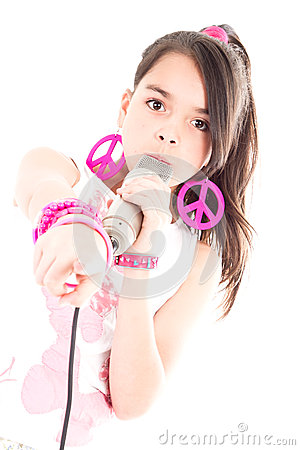 Girl singing with microphone pointing at you