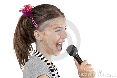 Girl singing on studio shot