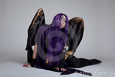 Girl sit in purple fury cosplay costume character