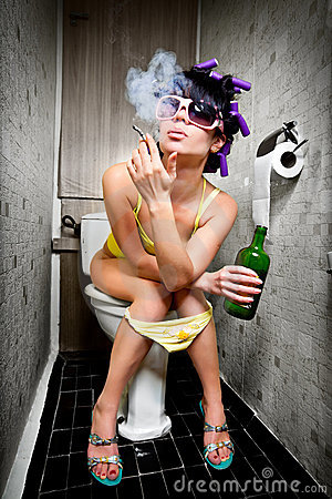 Free Girl Sits In A Toilet Stock Photography - 15912852