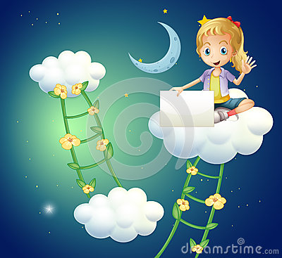 A girl sitting above a cloud holding an empty signage