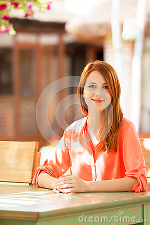 Girl sitting in the cafe