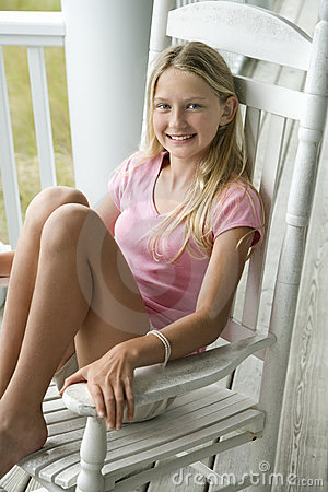 Girl Sitting In Chair Royalty Free Stock Images Image