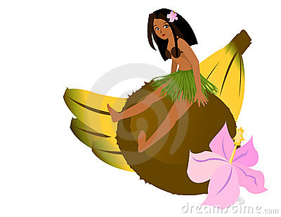 Girl Sitting on Coconut